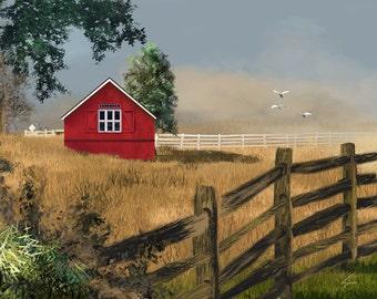 Red Barn - 8x10 Farm Art Print  Farmhouse Country Decor