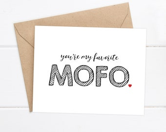 Boyfriend Card / Funny Card / I love you Card/ Favorite MOFO / Just for fun / Boyfriend Birthday