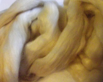 Creamy White, 50/50 Blend, BFL, Kid Mohair, Roving 8 oz