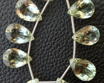 4 Matched Pairs, 15x10mm Size, aaa Quality BRAZIL GREEN AMETHYST Faceted Cut Pear Shape Briolettes,Amazing Matched Pairs,Superb