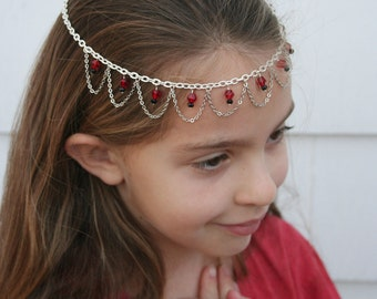 Blood Princess Faerie Circlet - Red & Black Faceted Beads with Silver Chain - Belly Dance, Wedding, Renaissance or Costume Accessory