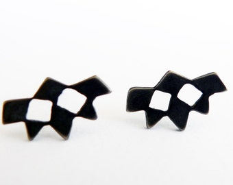 Black Mini Mashrabiya No. 1. Sterling Silver Stud Earrings. Modern Geometry Handmade Black Silver Lace Earrings. Unisex Silver Studs.