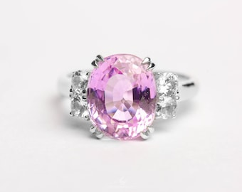 Kunzite and Natural Zircon  Sterling Silver Ring