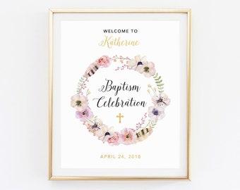 Custom Baptism sign, Baptism sign girl, Baptism welcome sign, Baptism printable, Personalized Baptism, Decoration Baby Baptism sign