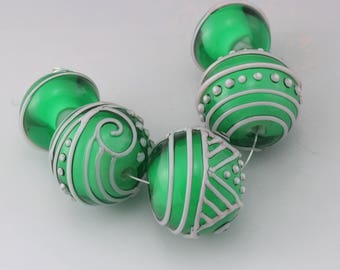 Handmade Lampwork Beads Green Glass Bead Set Pink Scrollwork Beads Linework Beads Flamework SRA Lampwork Beads Heather Behrendt 4985