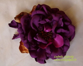 Handmade purple satin flower brooch, flower clip & pin