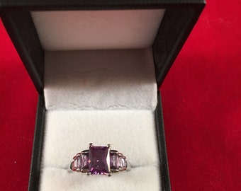 Amethyst and sterling ring
