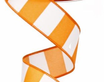 "1.5""X10yd Wide Stripe Wired Edge Ribbon ( orange/white )"
