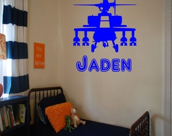 Helicopter With Custom Name Wall Decal