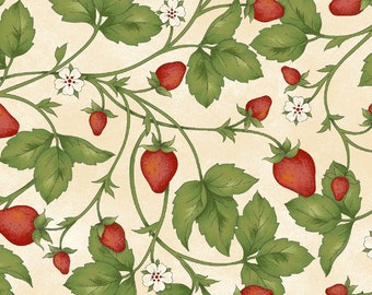 Strawberries, From the Farm, Strawberries on White, Quilting Cotton, 100% Cotton, by the half yard