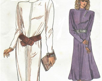 80s Womens Back Buttoned Dress Slim or Flared Skirt Vogue Sewing Pattern 9642 Size 8 10 12 Bust 31 1/2 to 34 UnCut Very Easy Vogue Patterns