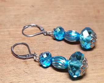 Turquoise and Silver Earrings Lever Back Blue Jewelry Free US Shipping