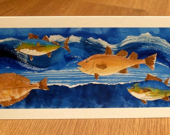 Fish collage card