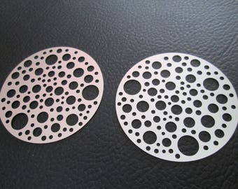2 prints / round charms with stainless steel 40 mm holes