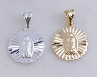 Our Lady of Guadalupe Round Pendant with CZs in Sterling Silver, Gold Plated OR Rose Gold Plated, Miraculous Medal Charm, Religion CM204R