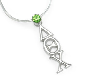 Delta Theta Chi Sterling Silver Lavaliere with Swarovski Green Crystal // ΔΘΧ Sorority jewelry // Sorority gifts // Greek Letter Necklace //