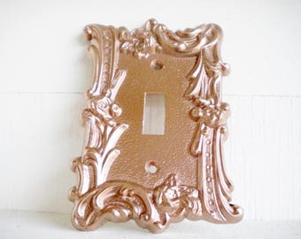Rose Gold Switchplate Single Toggle  1 Way Switch Cover / Repurposed Handpainted Vintage Metal/ Price For 1/ Shabby Chic