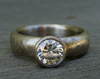 Moissanite Ring - Solitaire Engagement Ring in Recycled 14k Palladium White Gold, Textured Chunky Band, Ethical Jewelry, Made to Order