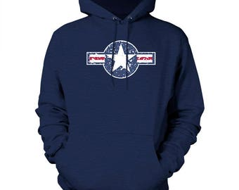 Faded Air Force Logo Cotton Pullover Hoodie