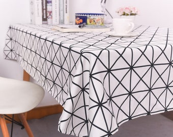 Minimalist Stripes Tablecloth Cotton Tablecloth Black and White Geometry Plaid Table Cloth Rectangle Tea Table Cover Dinner Tableclothes