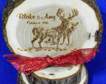 Rustic Cake Top ~ Rustic Wedding ~ Barn Wedding ~ Buck and Doe Cake Top ~ Country Wedding ~ Engraved Wood Cake Top ~ Deer Cake Top ~ Hunting