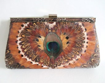 Clutch Purse Peacock Pheasant Feathers Brown Leather Evening Bag Handbag