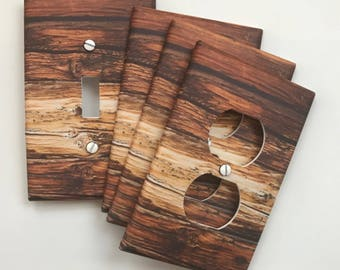 Rustic Wood Light Switch Plate Cover // brown planks image 87 // SAME DAY SHIPPING**