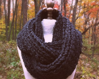 Oversized Super Chunky Infinity Scarf Loop Cowl - Charcoal - MADE TO ORDER