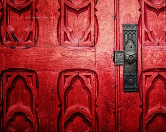 Red Wall Print or Canvas Art, Red Print, Vintage Red Church Door, Antique Architecture, Vibrant Door, Ornate Door, Pittsburgh Print.
