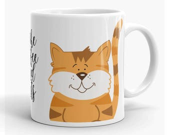 I like Coffee and Cats Cute Coffee Mug, Cat Lovers Mug, Orange and Gray Kitty