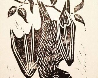 Fruit Bat A5 Lino Print