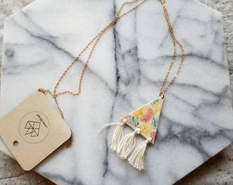 Colorful triangle pendant necklace, porcelain necklace, long layering necklace with tassels