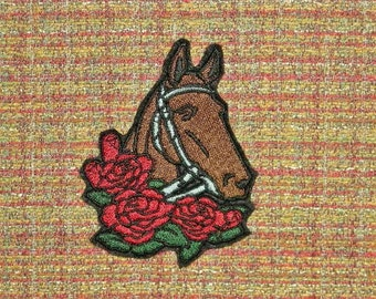 """Kentucky Derby,  Iron On Patch, Preakness Stakes, Belmont Stakes, Horse Race, Horse and Roses,3 """" x 3 3/4"""", Embroidered Patch"""