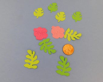 Hibiscus Paper embellishments, party confetti, cupcake toppers, Party table confetti Teacher cardmaking scrapbooking supplies