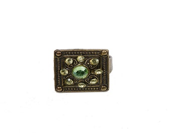 Antique Brass Square Ring with Green Swarovski crystals