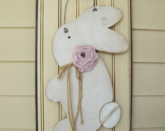 bunny, easter, spring, painted wood, painted wood door hanger, painted wall decor, home decor, hand painted, seasons and sawdust, primitive