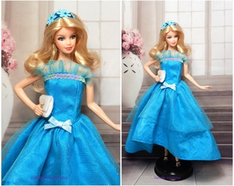 Evening dress for doll type barbie
