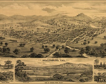 Poster, Many Sizes Available; Bird'S Eye View Map Of Healdsburg, Cal. 1876