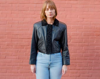vintage black leather suede cropped jacket   embroidered leather coat   stitched suede crop jacket   rocker jacket   s   small   1980s   80s