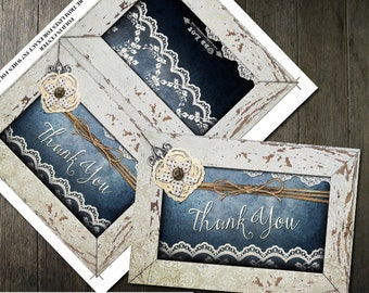 Denim & Lace Thank You Card,Rustic Chic Thank You, Rustic Wedding, Country Rustic Wedding, Printable Thank You Card DIY, Instant Download