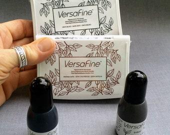 Versafine Onyx Black or Vintage Sepia Stamp Pad with Reinker