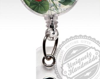 Cute name badge reel, Nasturtium Flower Badge Holder, Cute Badge Clip, Vintage Retractable ID Badge Holder, Badge Clip, Stethoscope Tag 437