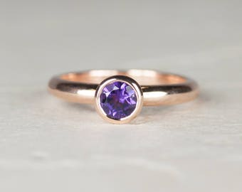 Amethyst Engagement Ring | February Birthstone Ring | February Birthstone Engagement Ring | Rose Gold Solitaire Ring | Amethyst Gold Ring