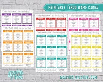 Printable Scripture Taboo Game 54 Cards   PDF, Instant Download, Print at Home