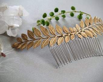 Laurel- Golden Leaf Hair Comb, Raw Brass Leaf Sprig, Gold Wreath, Greek God Apollo Costume, Woodland Branch Hair Piece, Elven Plant Crown