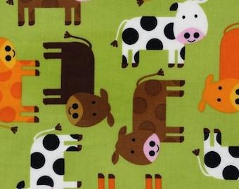 Urban Zoologie Green Cows for Robert Kaufman 1/2 yard