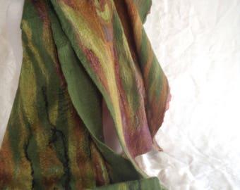Nuno felted wrap, brown, greens, gold .  Table runner, merino wool, silk.
