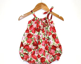 Red Rose Baby Girl Romper, Baby Girl Outfit, Baby Girl Clothing, Baby Romper, Red, Bubble Romper, Sunsuit, Baby Girl Romper, Rompers, Floral