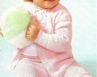 Vintage Pattern, Baby, Sweater and Leggings Set  , sizes 1 and 2 , knitting pattern,  PDF pattern