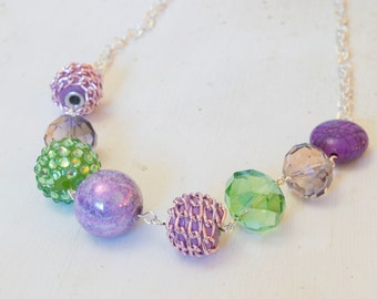 Large Variated Beaded Purple and Green Necklace on Silver Chain - One of a Kind